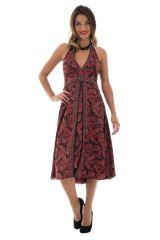 robe mi-longue avec lien à nouer et smocks au dos Despina 289859