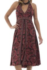robe mi-longue avec lien à nouer et smocks au dos Despina 292151