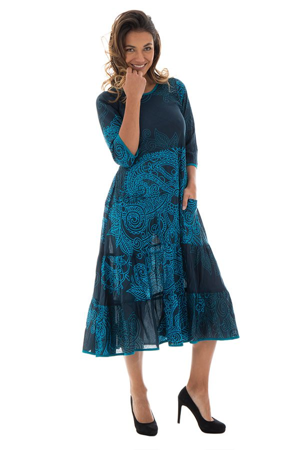 000e0885ac4 Robe mi-longue avec manche 3 4 et motifs ethniques charmante bleu canard  Lavinia. Loading zoom