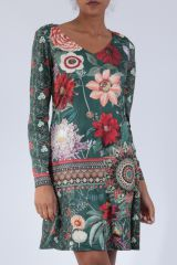 Robe mi-longue avec un imprimé de fleurs original Felia 304232