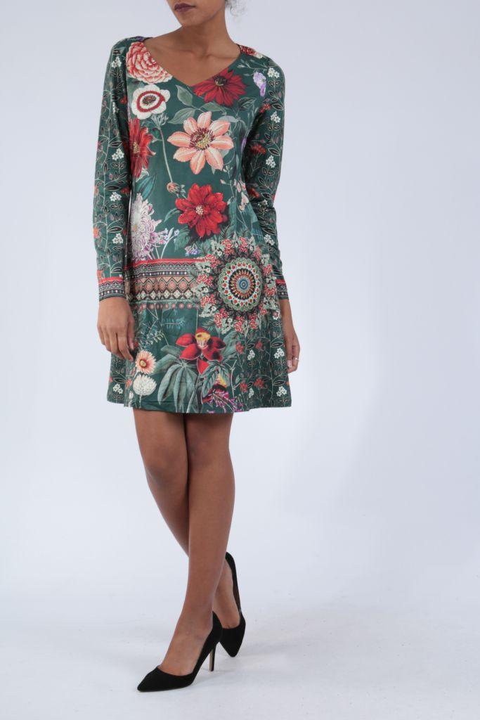 Robe mi-longue avec un imprimé de fleurs original Felia 304233