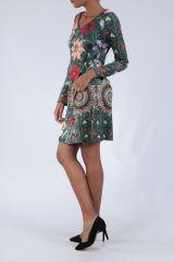 Robe mi-longue avec un imprimé de fleurs original Felia 304234