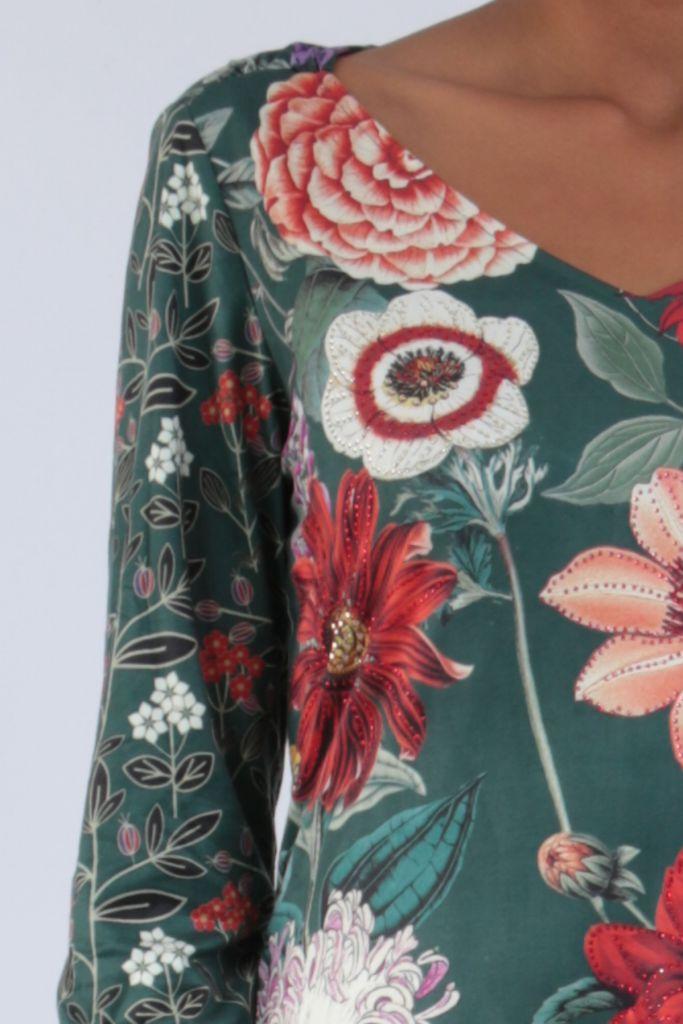 Robe mi-longue avec un imprimé de fleurs original Felia 304236