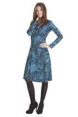 Robe mi-longue Bleue coupe Portefeuille et Ethnique Calix 285483