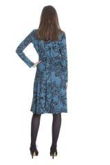 Robe mi-longue Bleue coupe Portefeuille et Ethnique Calix 285484