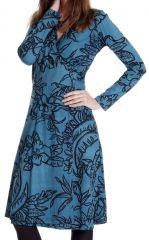 Robe mi-longue Bleue coupe Portefeuille et Ethnique Calix 287451