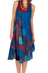Robe mi-longue bleue et asymétrique pourvue d'imprimé originaux Norla 296094