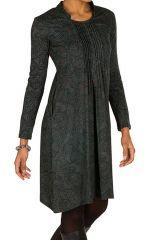 Robe mi-longue bohème à col mao et manches longues Gris Ankara 301375