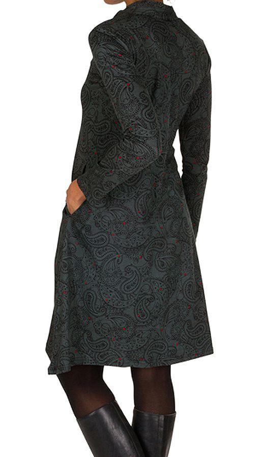 Robe mi-longue bohème à col mao et manches longues Gris Ankara 301377