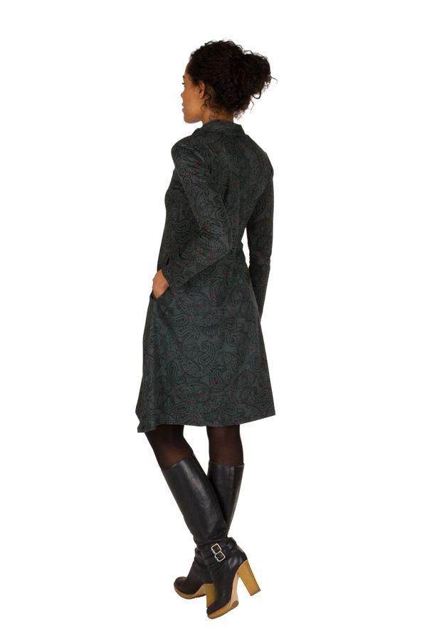 Robe mi-longue bohème à col mao et manches longues Gris Ankara 301378