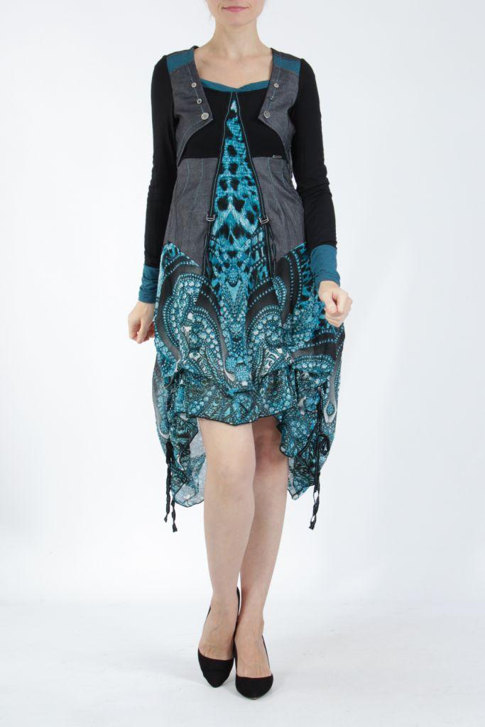 Robe mi-longue chic avec un imprimé original Balavy 304897
