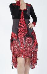 Robe mi-longue chic rouge avec un imprimé original Balavy 304909