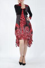 Robe mi-longue chic rouge avec un imprimé original Balavy 304910