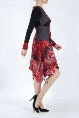 Robe mi-longue chic rouge avec un imprimé original Balavy 304911