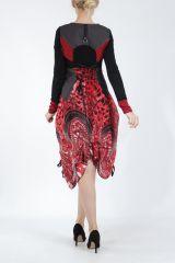 Robe mi-longue chic rouge avec un imprimé original Balavy 304912