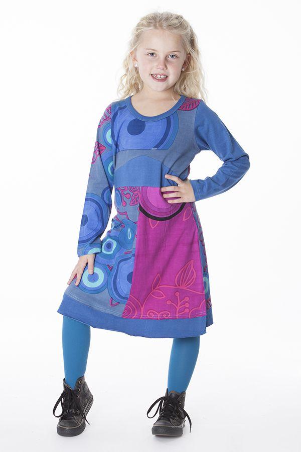 Robe mi-longue colorée à manches longues pour fille 287187