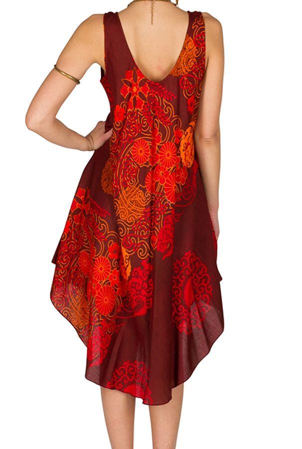 Robe mi-longue colorée et asymétrique en rayonne Arianna 296354
