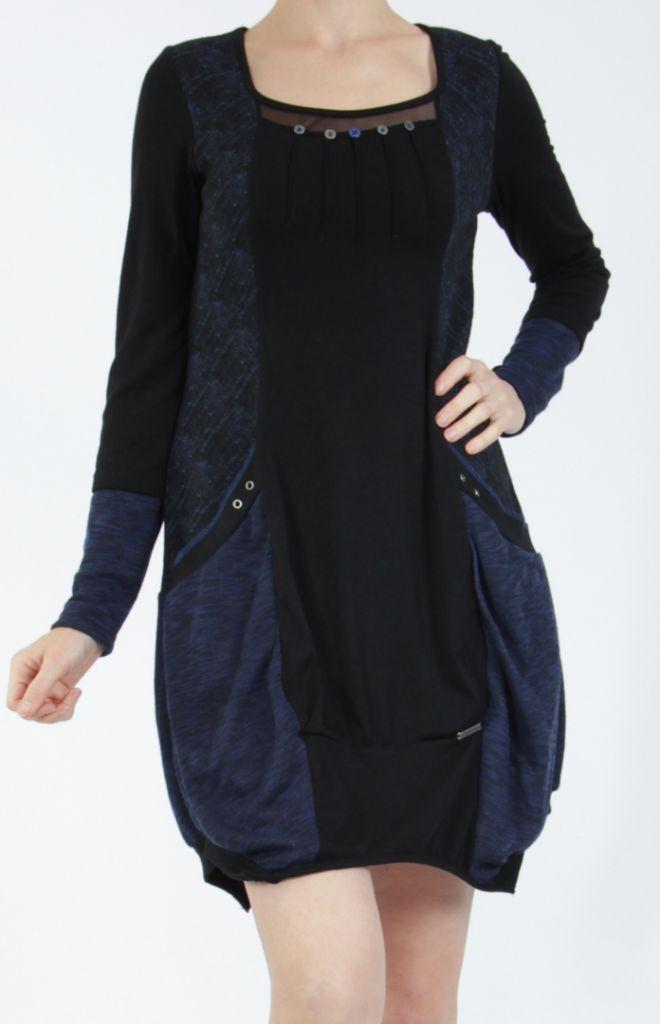 Robe mi-longue coupe asymétrique noire et bleue Maline 304975