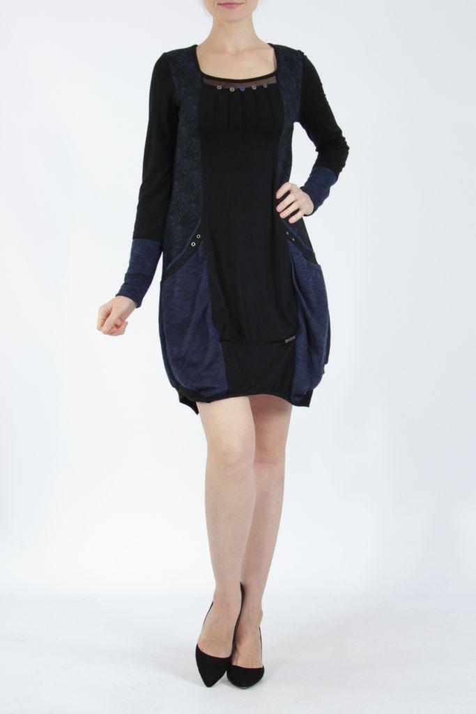 Robe mi-longue coupe asymétrique noire et bleue Maline 304976