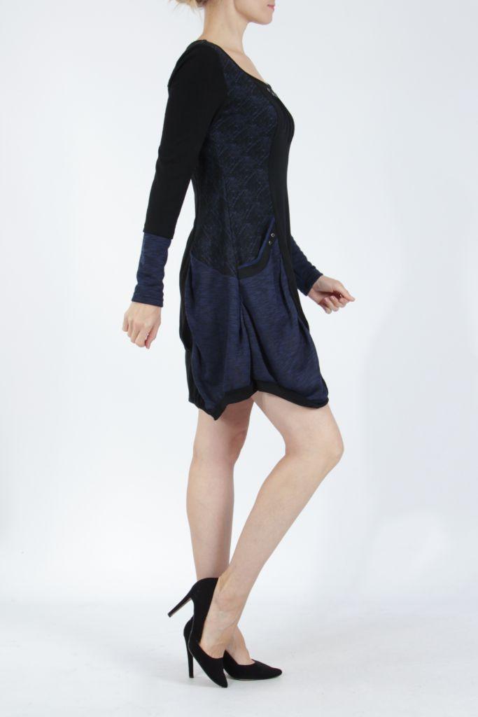 Robe mi-longue coupe asymétrique noire et bleue Maline 304977