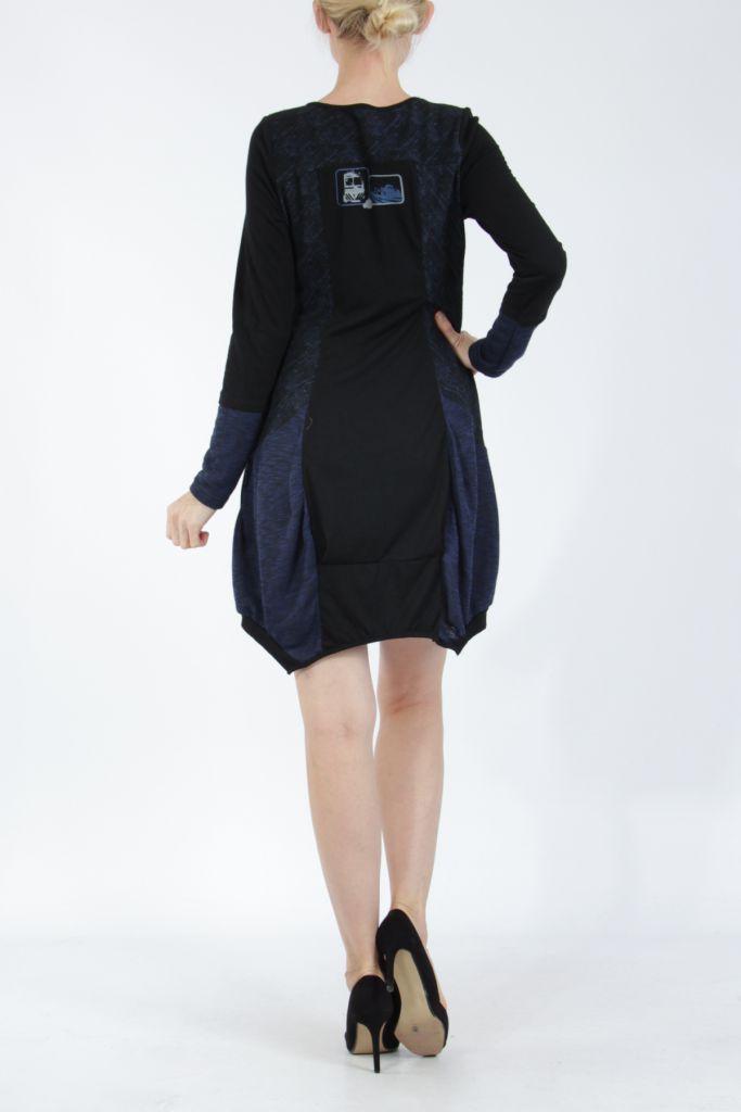 Robe mi-longue coupe asymétrique noire et bleue Maline 304978