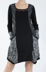 Robe mi-longue coupe asymétrique noire et gris Maline 304985
