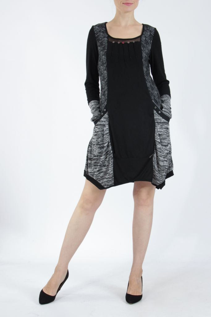 Robe mi-longue coupe asymétrique noire et gris Maline 304986