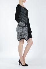 Robe mi-longue coupe asymétrique noire et gris Maline 304987