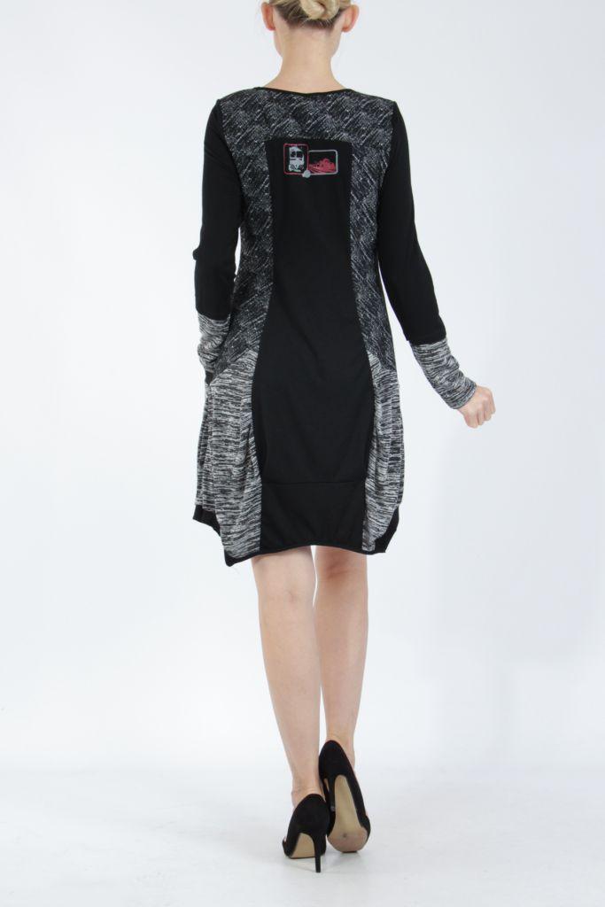 Robe mi-longue coupe asymétrique noire et gris Maline 304988