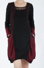 Robe mi-longue coupe asymétrique noire et rouge Maline 304963