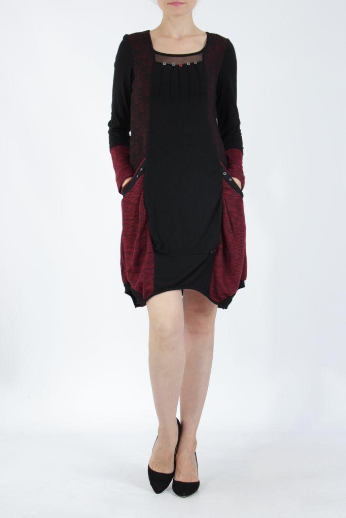 Robe mi-longue coupe asymétrique noire et rouge Maline 304964