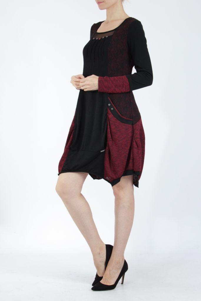 Robe mi-longue coupe asymétrique noire et rouge Maline 304965