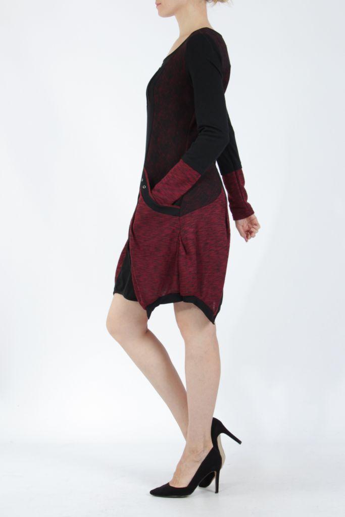 Robe mi-longue coupe asymétrique noire et rouge Maline 304966