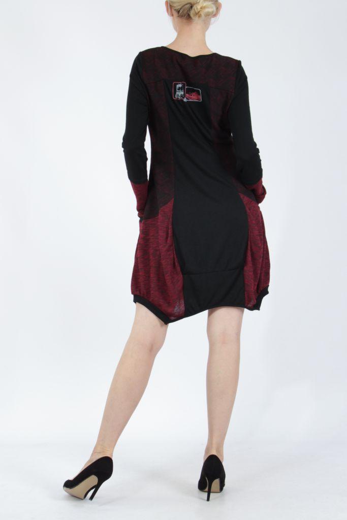 Robe mi-longue coupe asymétrique noire et rouge Maline 304967