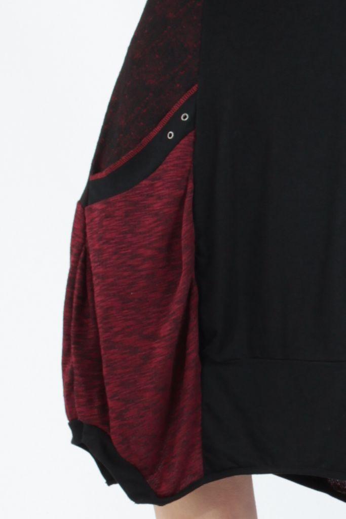 Robe mi-longue coupe asymétrique noire et rouge Maline 304968