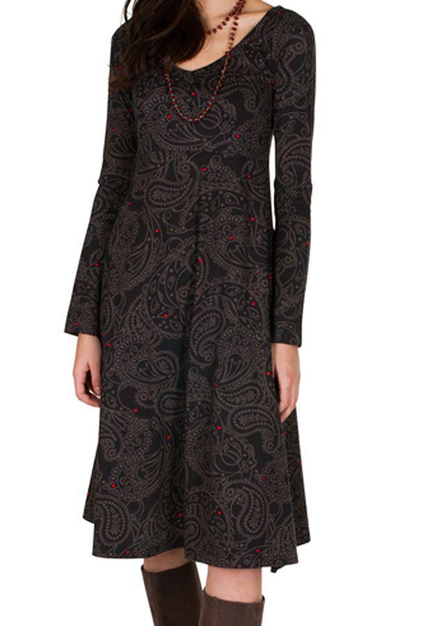 Robe mi-longue coupe Flare avec imprimés indiens Concetta 301555