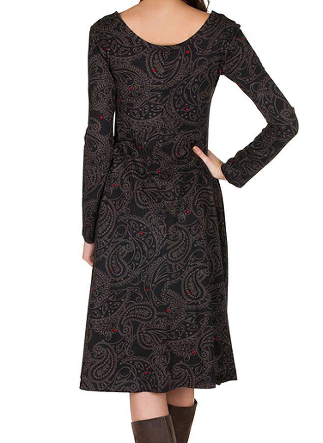 Robe mi-longue coupe Flare avec imprimés indiens Concetta 301558