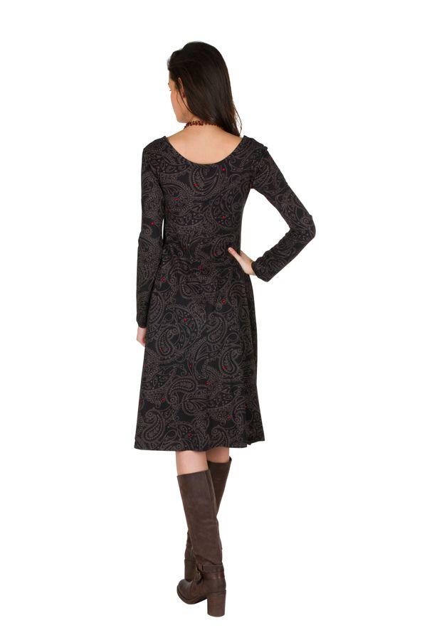 Robe mi-longue coupe Flare avec imprimés indiens Concetta 301562
