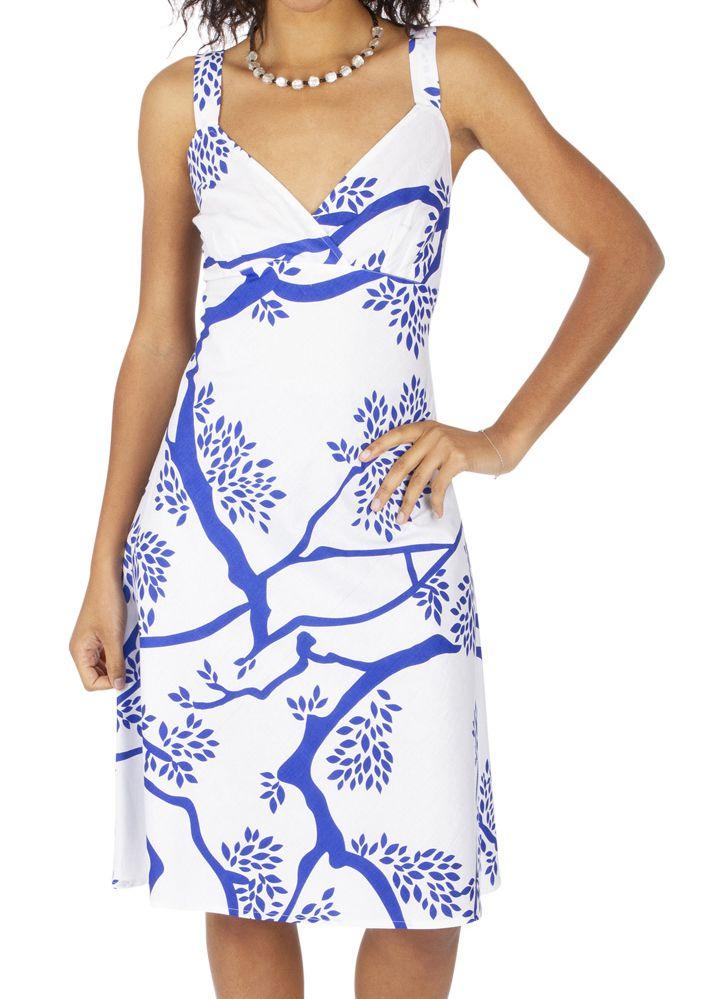 Robe mi-longue d'été bleue et blanche avec un col en v Giliu 316901
