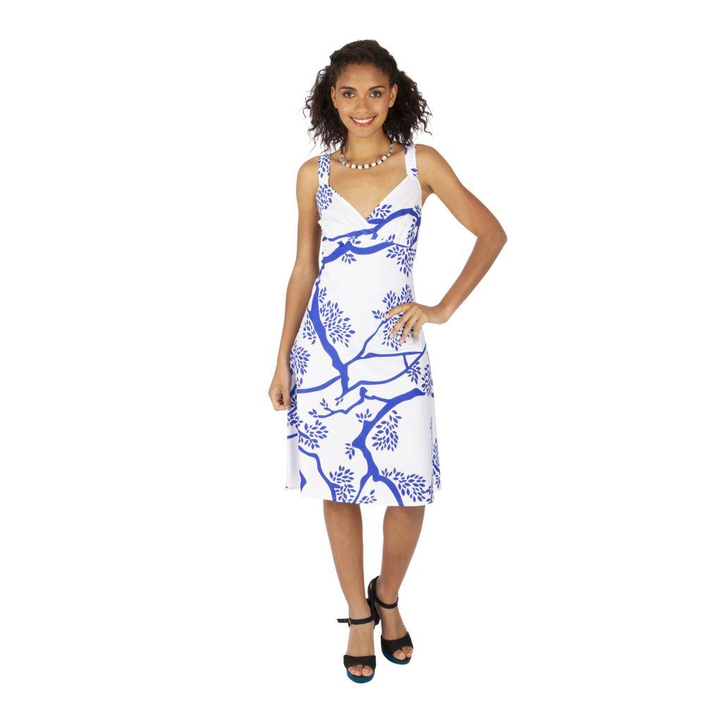 Robe mi-longue d'été bleue et blanche avec un col en v Giliu 316902
