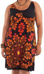 Robe mi-longue d'été Colorée et Imprimée Pepsy Noire et Orange 284424