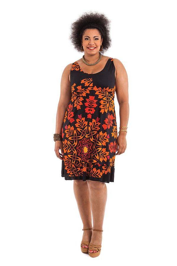 Robe mi-longue d'été Colorée et Imprimée Pepsy Noire et Orange 284425