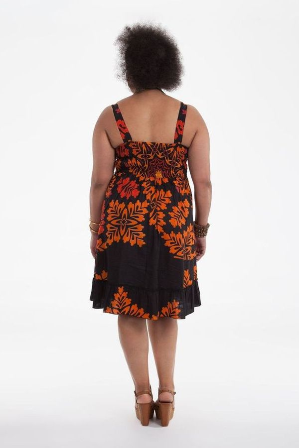 Robe mi-longue d'été Colorée et Imprimée Pepsy Noire et Orange 284426