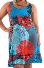 Robe mi-longue d'été Imprimée et Colorée Pepsy Bleue et Rouge 284418