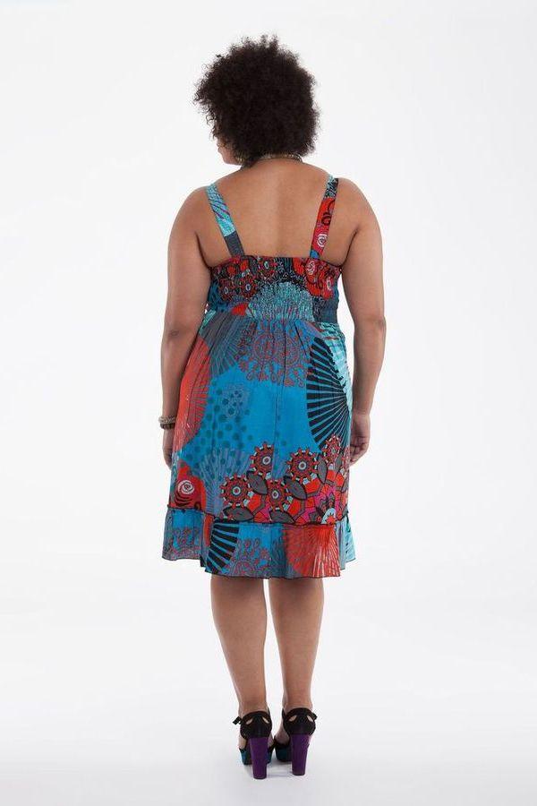 robe mi longue d 39 t imprim e et color e pepsy bleue et rouge. Black Bedroom Furniture Sets. Home Design Ideas