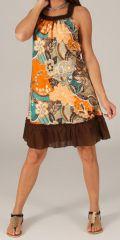 Robe mi-longue d'été Imprimée et Ethnique Tayoula Marron 279536