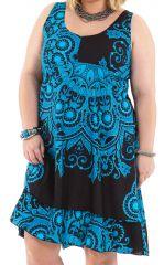 Robe mi-longue d'été Noire et Bleue Colorée et Imprimée Pepsy 284421