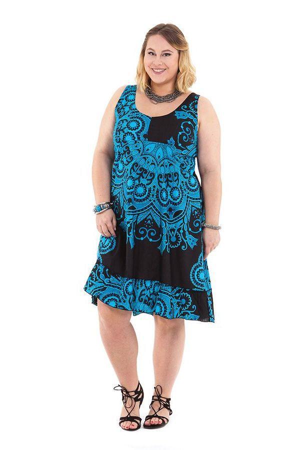 robe mi longue d 39 t noire et bleue color e et imprim e pepsy. Black Bedroom Furniture Sets. Home Design Ideas
