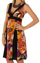 Robe mi-longue d'été Originale et Colorée Suzy Noire et Orange 284479