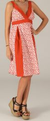 Robe mi-longue d'été Originale et Colorée Suzy Rouge et Blanche 279436